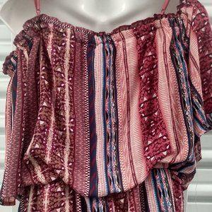 Womens  Off Shoulder Split Maxi Romper Dress